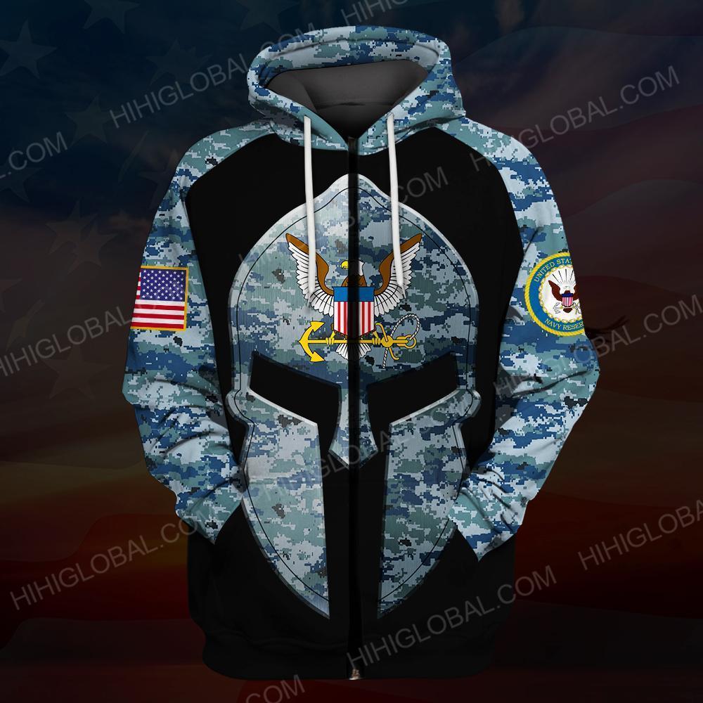 US navy all over printed zip hoodie
