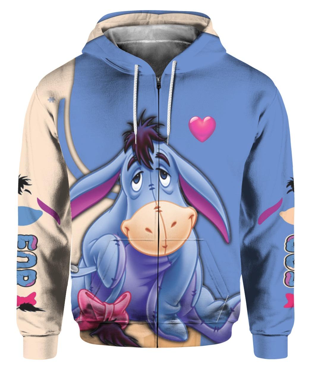 Winnie the pooh eeyore full printing zip hoodie