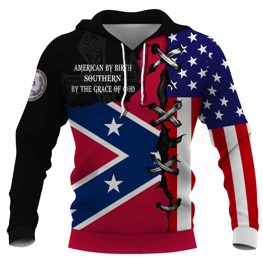 American by birth southern by the grace of god full printing shirtAmerican by birth southern by the grace of god full printing hoodie 1