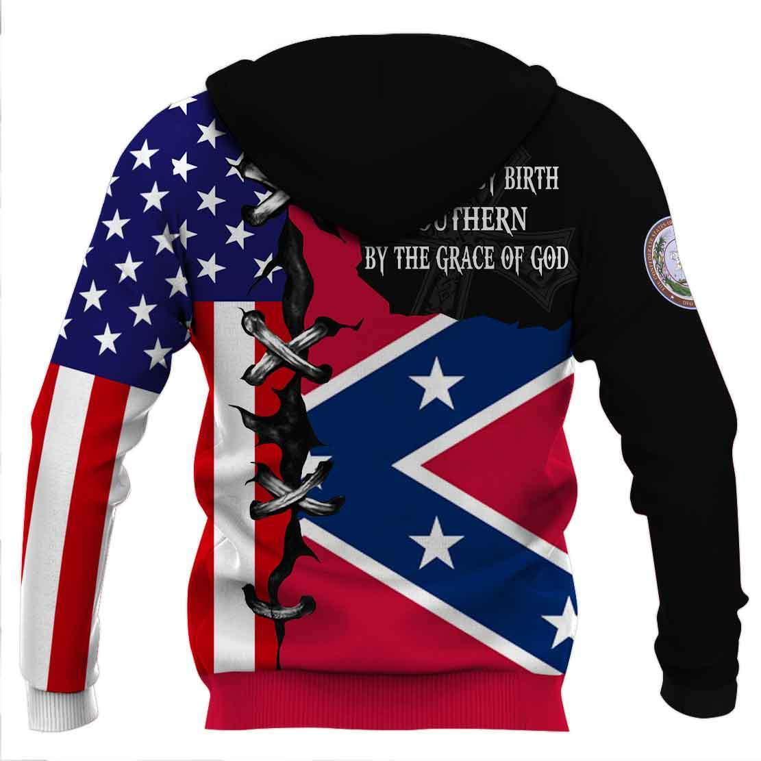 American by birth southern by the grace of god full printing shirtAmerican by birth southern by the grace of god full printing hoodie - back
