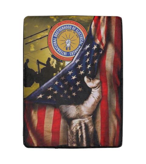 American flag international brotherhood of electrical workers blanket 2