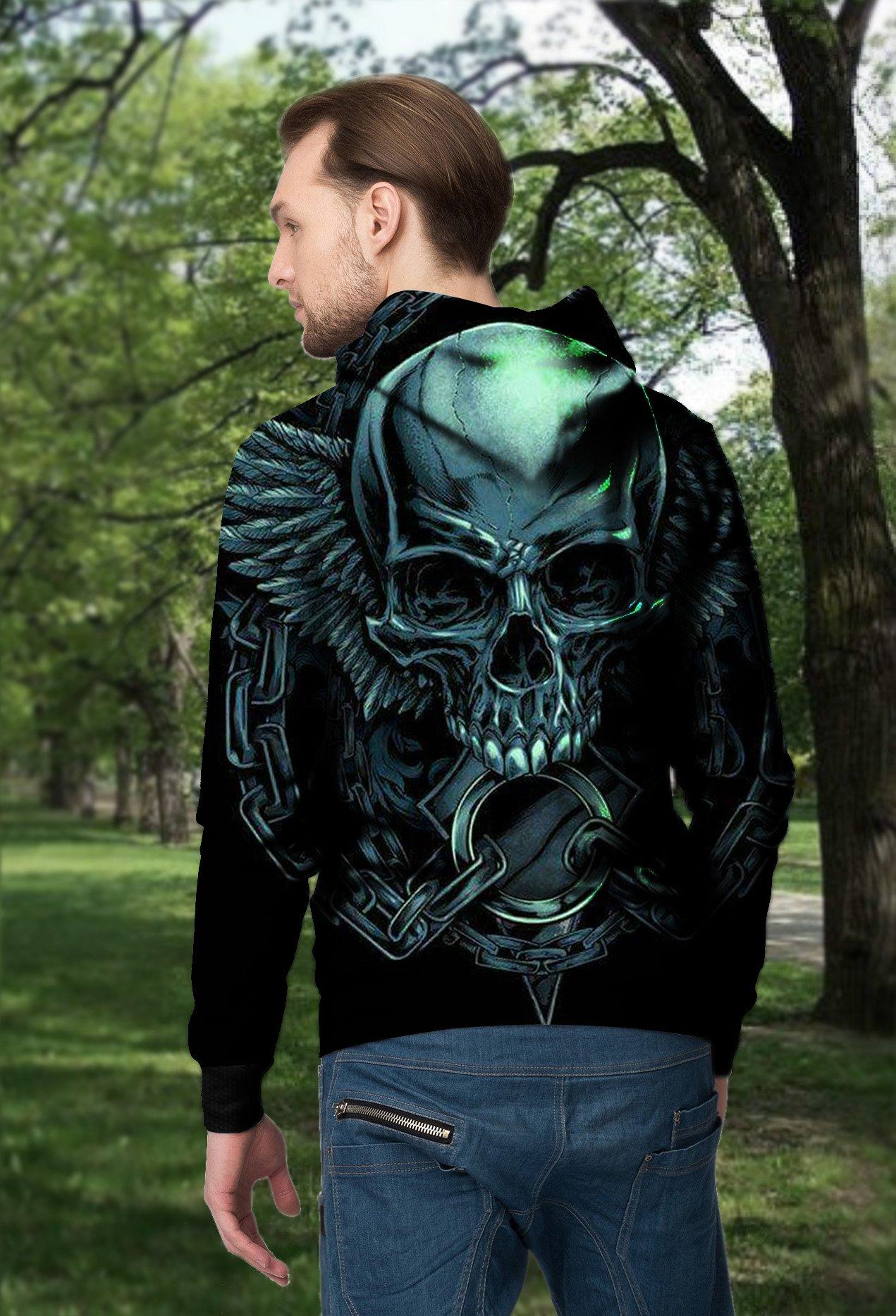 Angel wings skull full printing hoodie - back 1