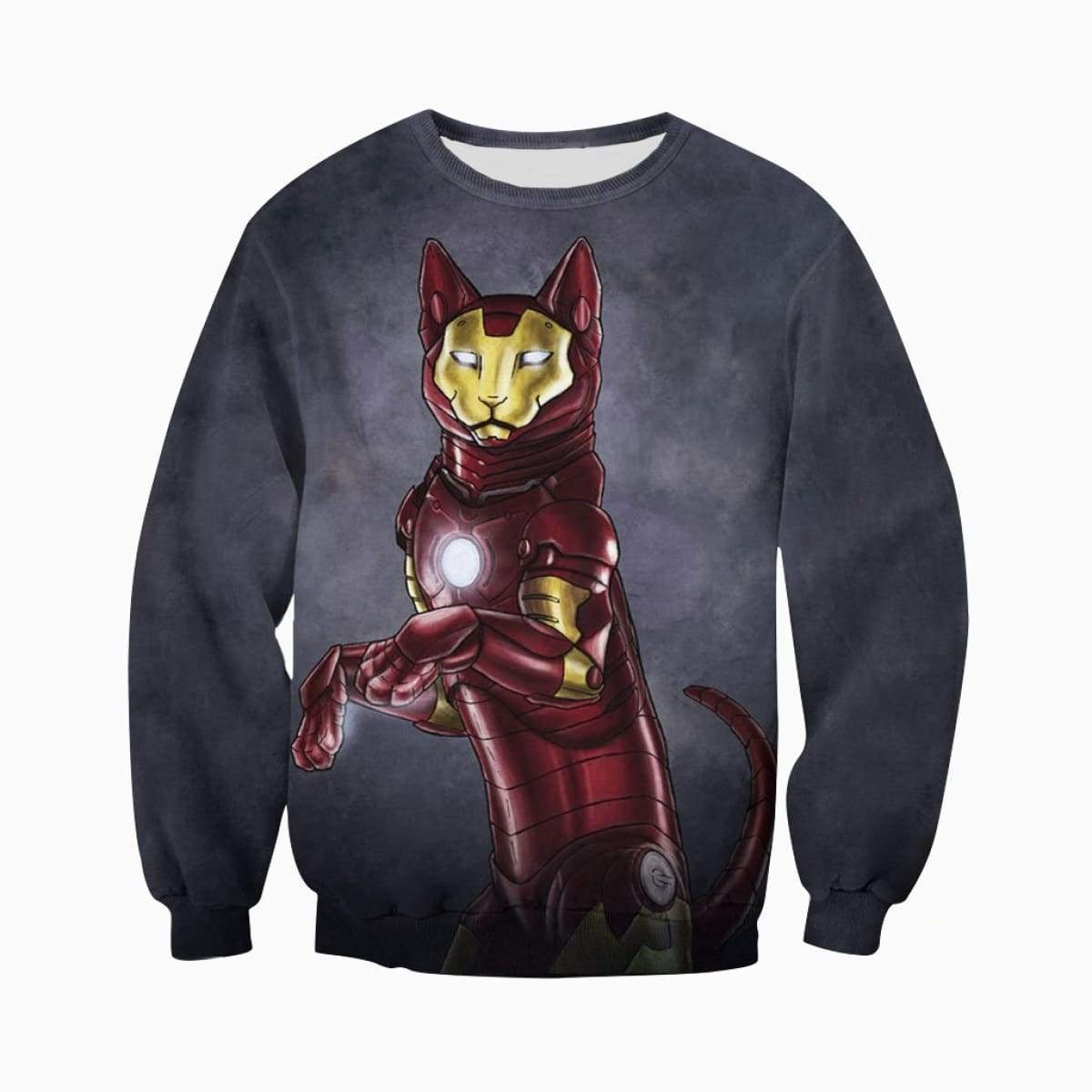 Avengers iron man iron cat all over print sweatshirt