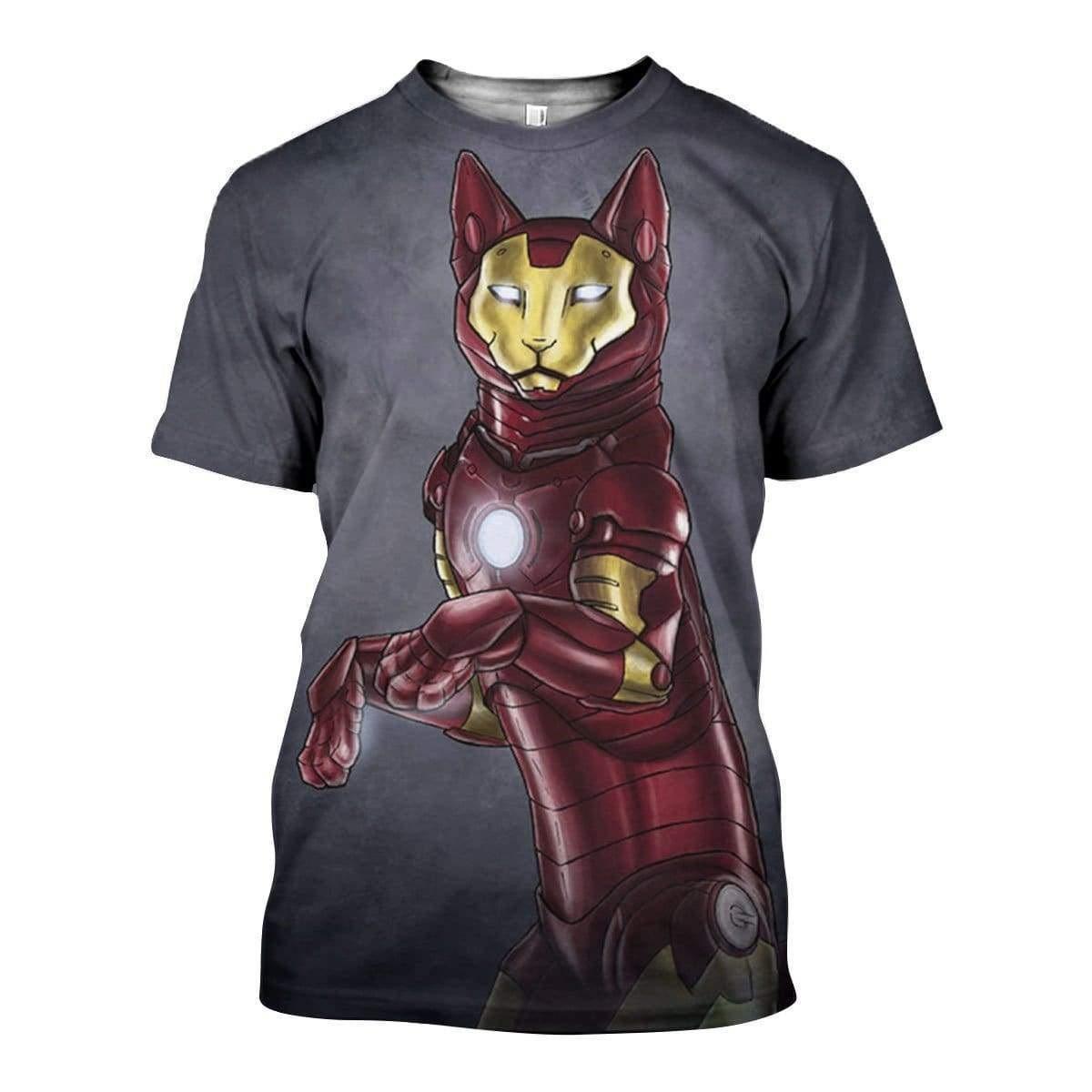 Avengers iron man iron cat all over print tshirt