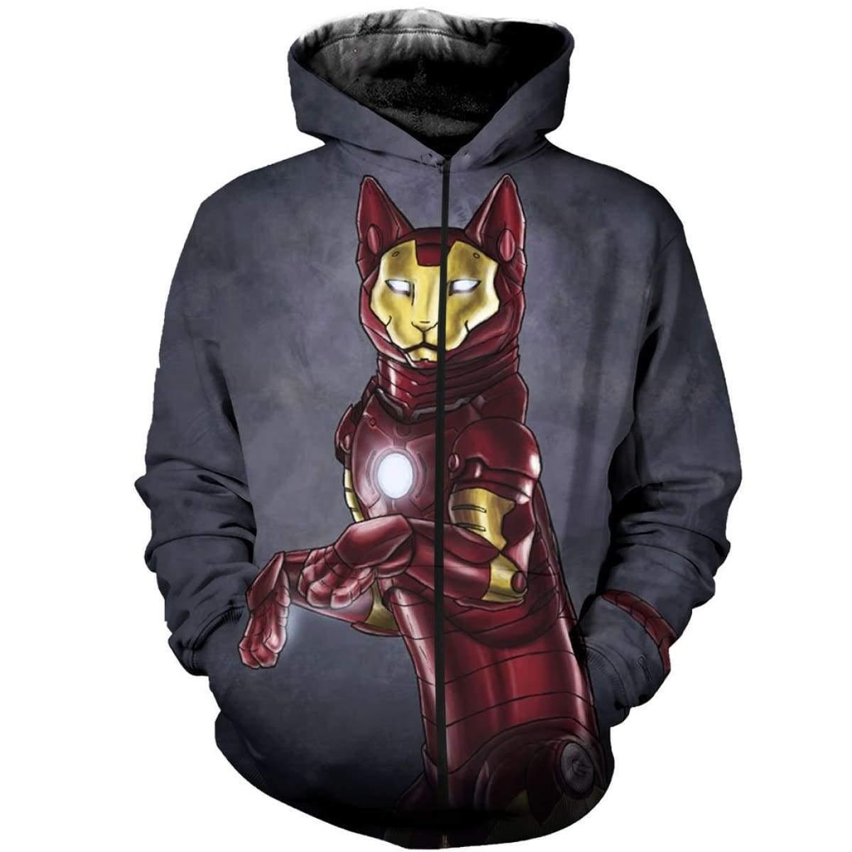 Avengers iron man iron cat all over print zip hoodie