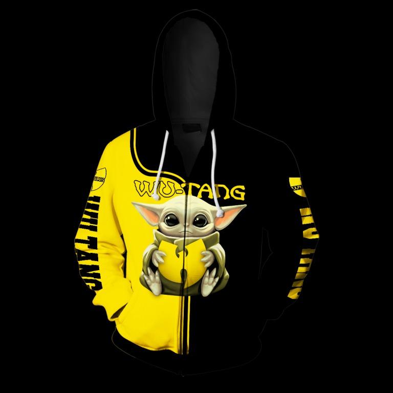 Baby yoda hug wu-tang clan all over print zip hoodie