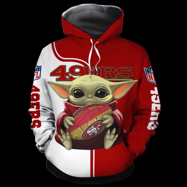 Baby yoda san francisco 49ers full over print hoodie
