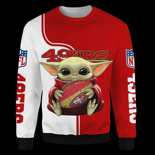 Baby yoda san francisco 49ers full over print sweatshirt