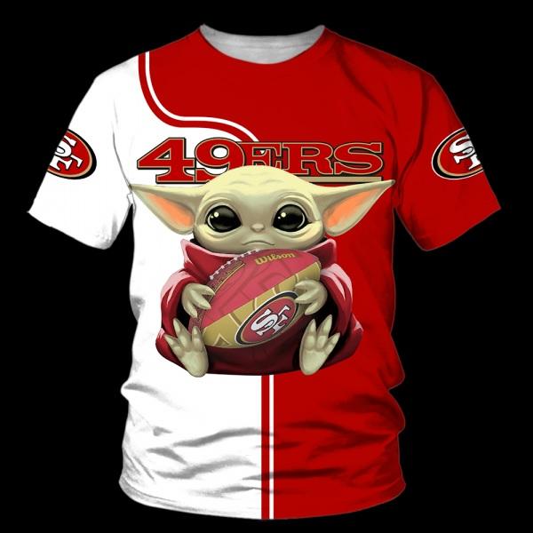 Baby yoda san francisco 49ers full over print tshirt