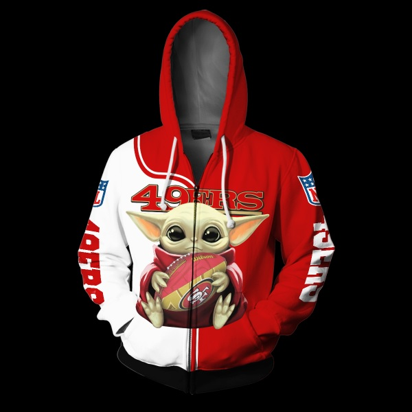 Baby yoda san francisco 49ers full over print zip hoodie
