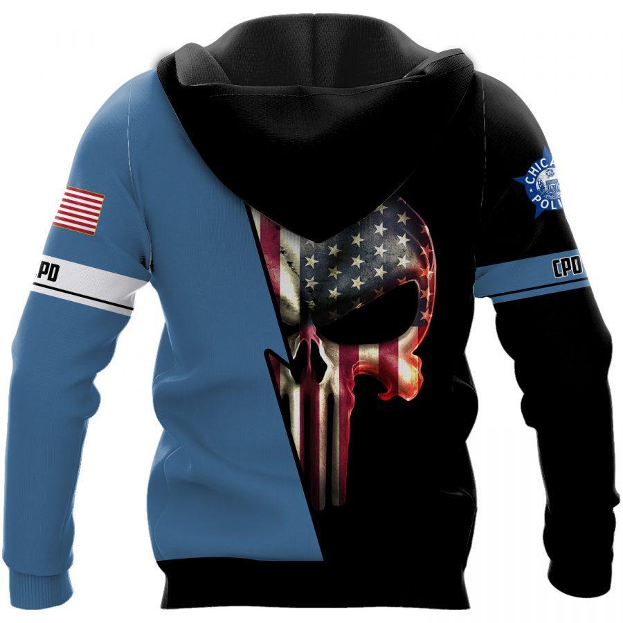 Chicago police department skull full printing hoodie - back 1