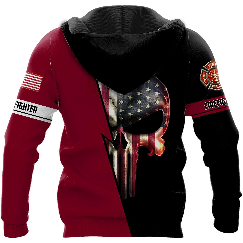 Customized us firefighter skull full printing hoodie - back 1