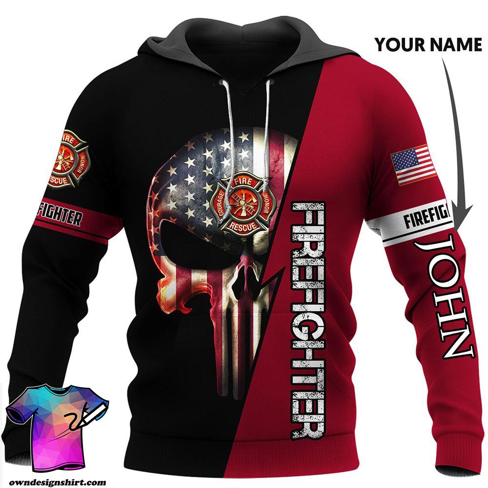 Customized us firefighter skull full printing shirt
