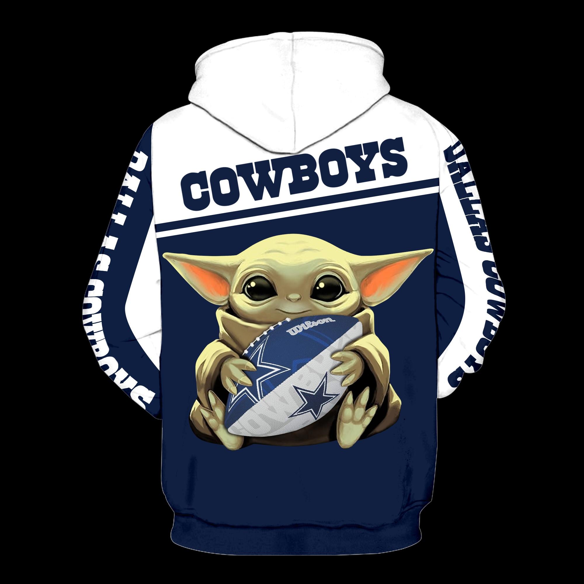 Dallas cowboys baby yoda all over print hoodie - back