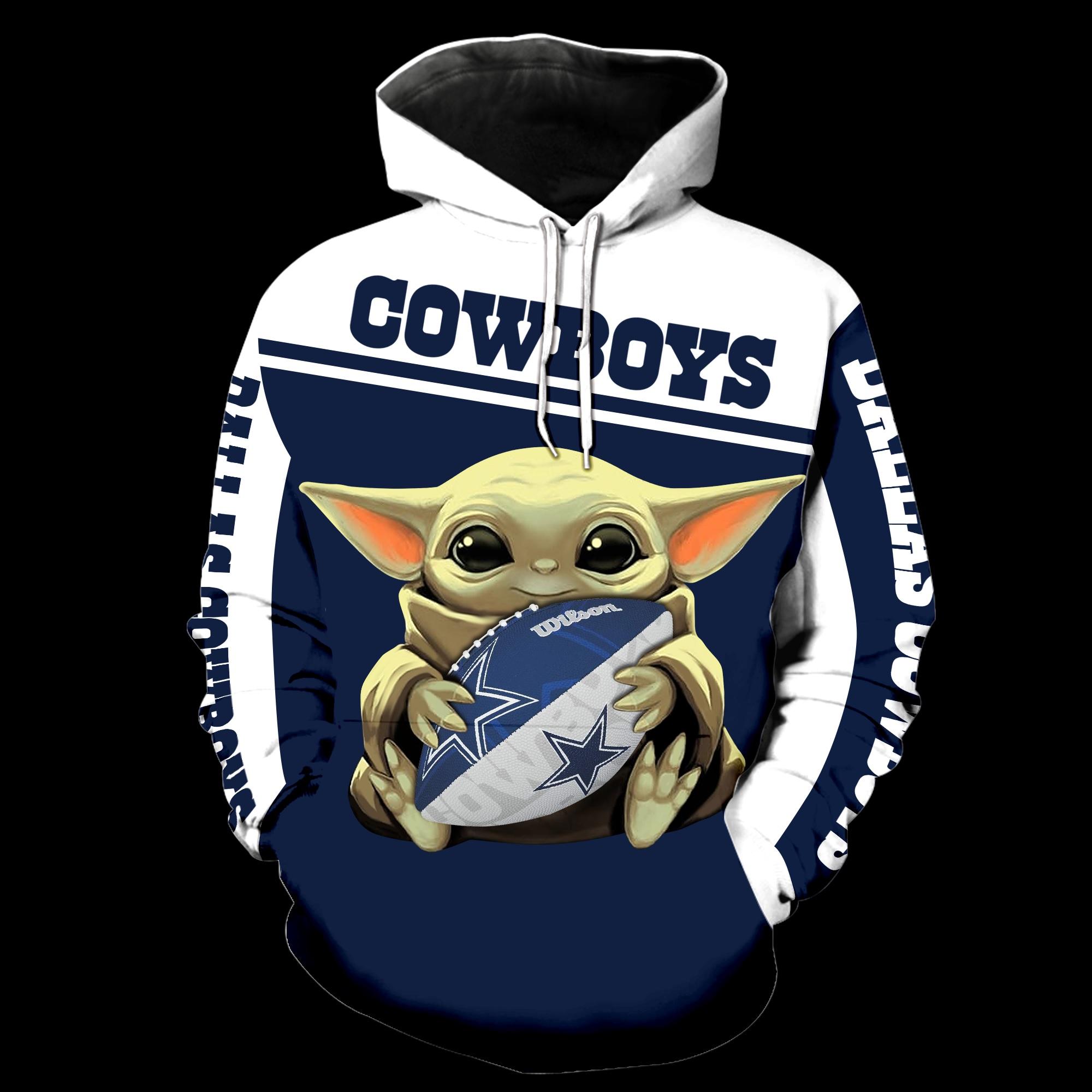 Dallas cowboys baby yoda all over print hoodie