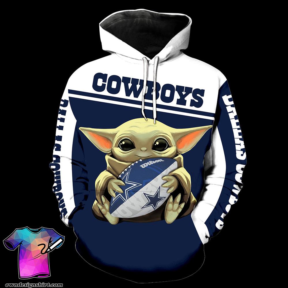 Dallas cowboys baby yoda all over print shirt