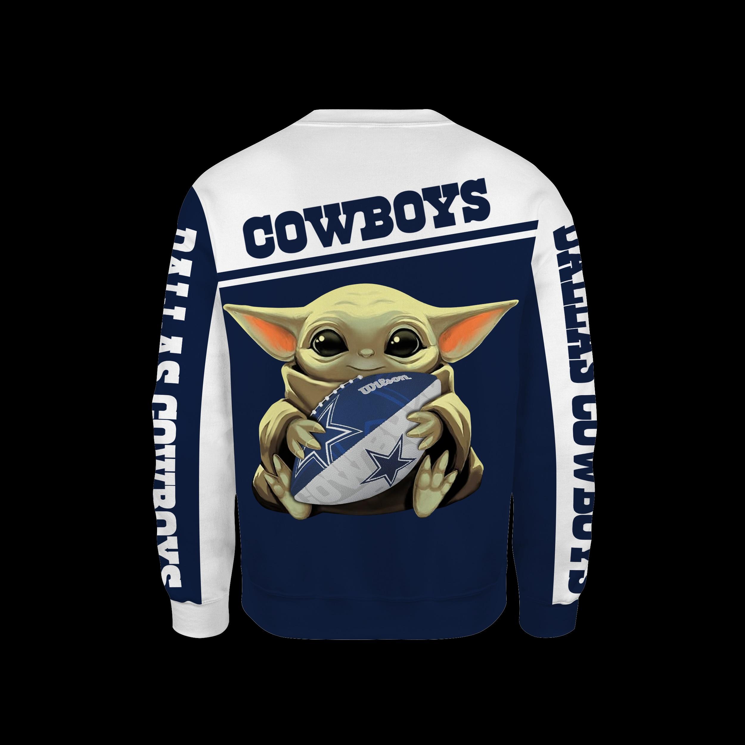 Dallas cowboys baby yoda all over print sweatshirt - back