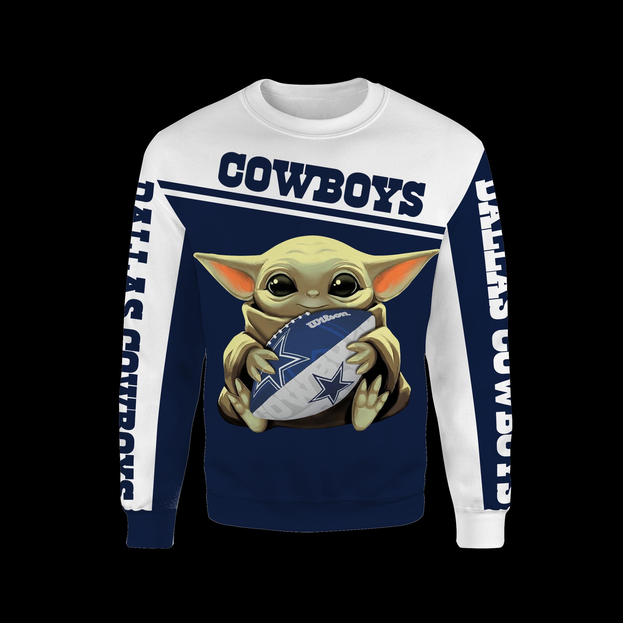 Dallas cowboys baby yoda all over print sweatshirt
