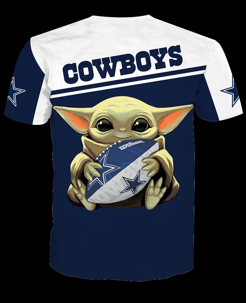 Dallas cowboys baby yoda all over print tshirt - back