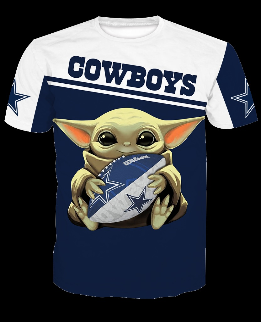 Dallas cowboys baby yoda all over print tshirt