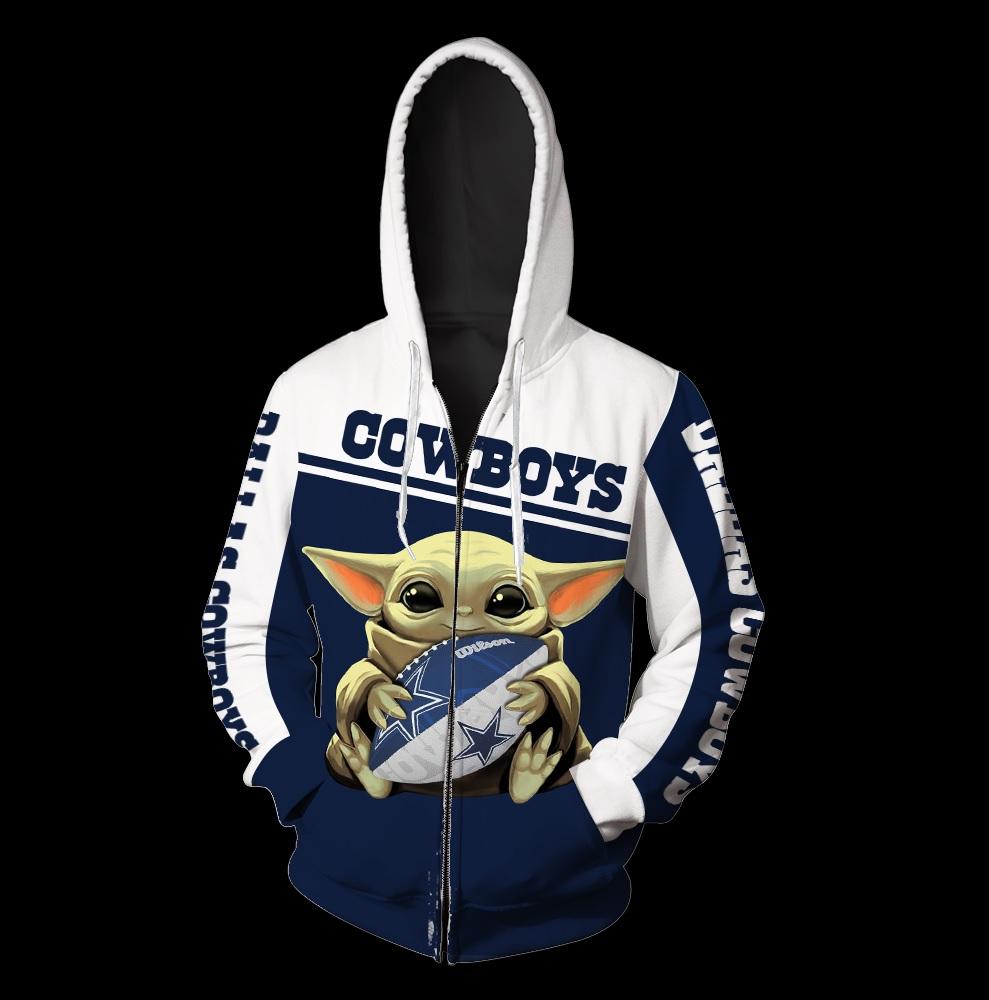 Dallas cowboys baby yoda all over print zip hoodie