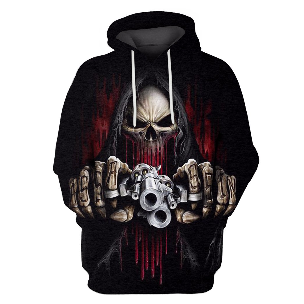 Death skull with gun all over hoodie 1