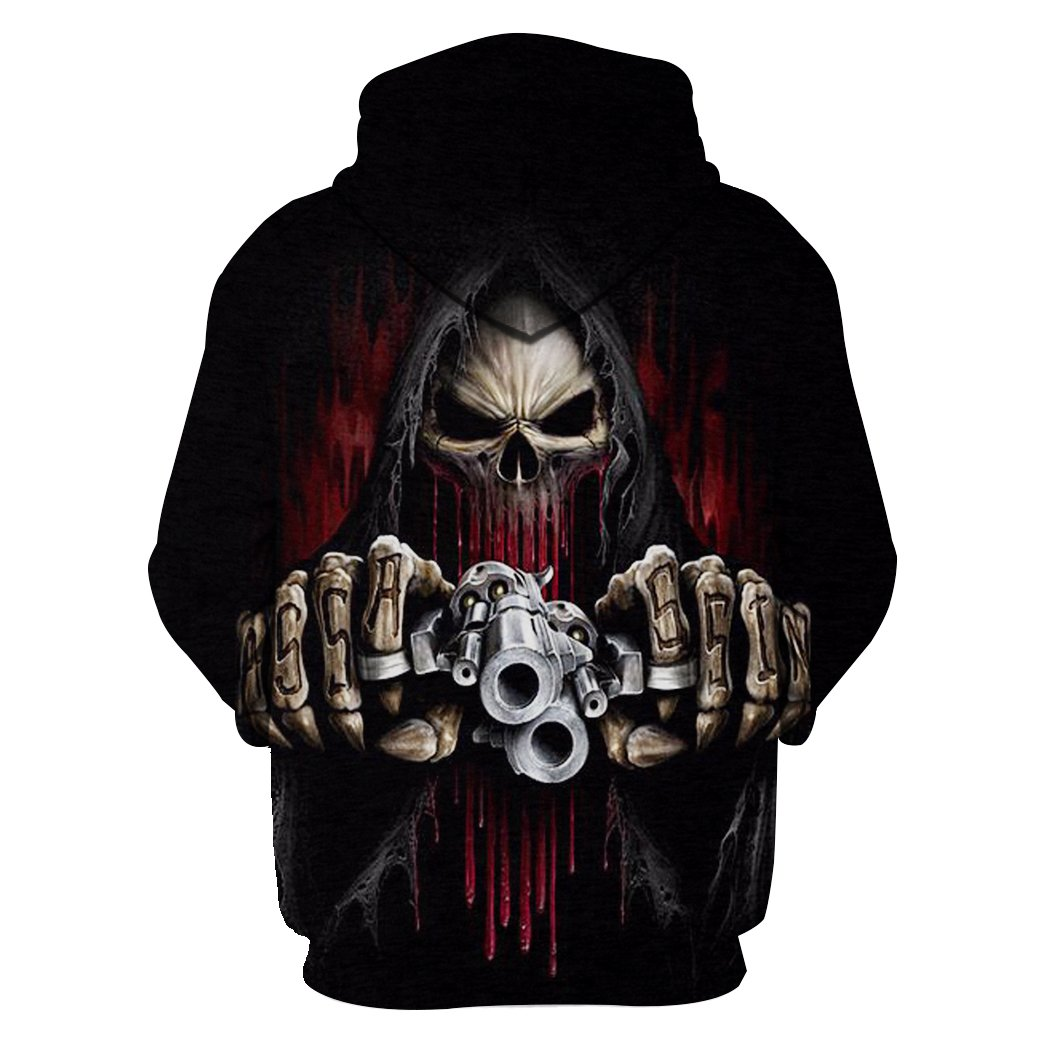 Death skull with gun all over hoodie - back 1