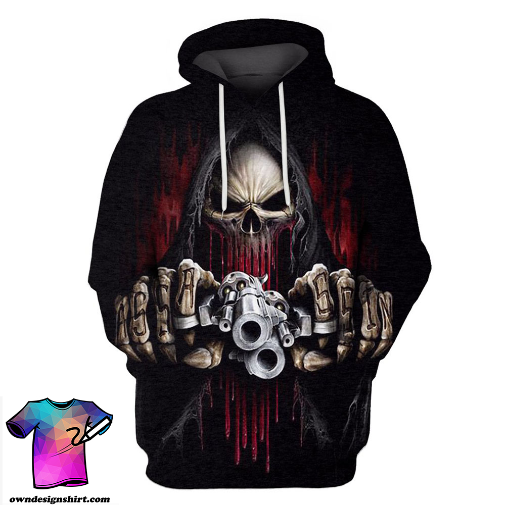 Death skull with gun all over printed shirt