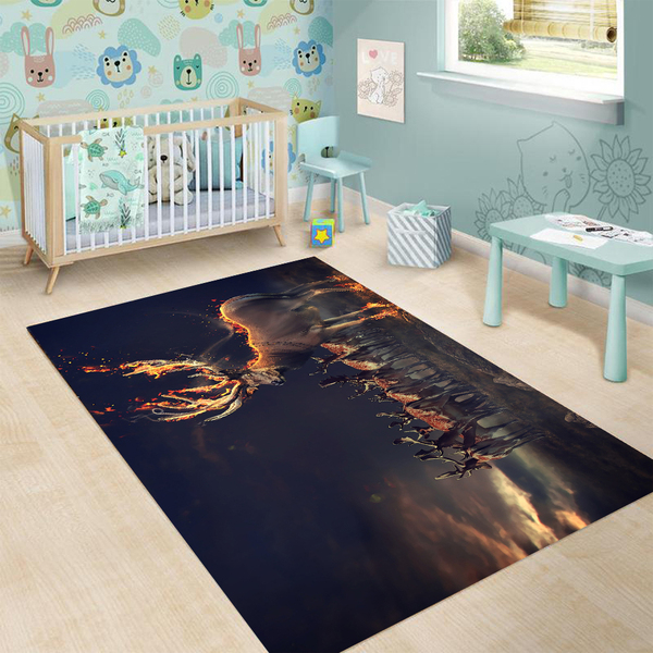 Deer hunting fire all over printed rug 1