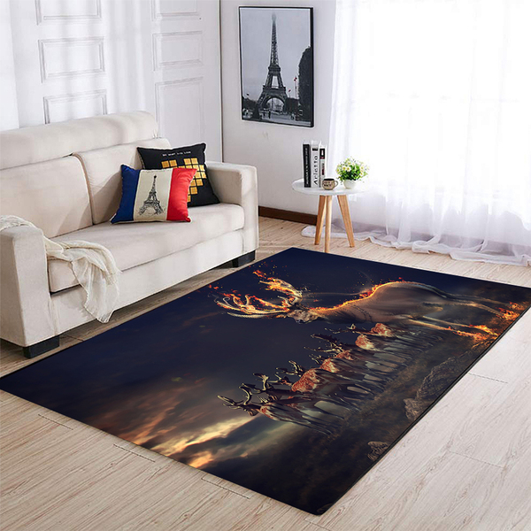 Deer hunting fire all over printed rug 2