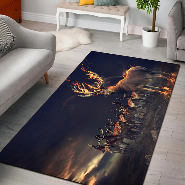Deer hunting fire all over printed rug 3