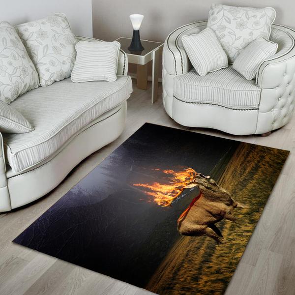 Deer hunting flame all over printed rug 1