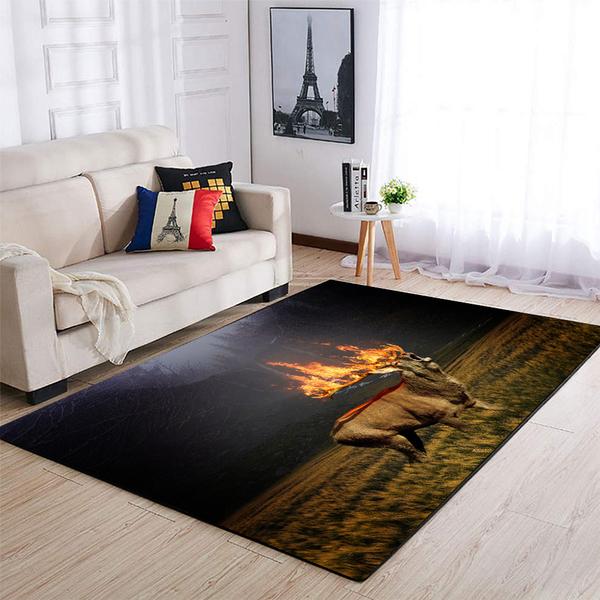 Deer hunting flame all over printed rug 2