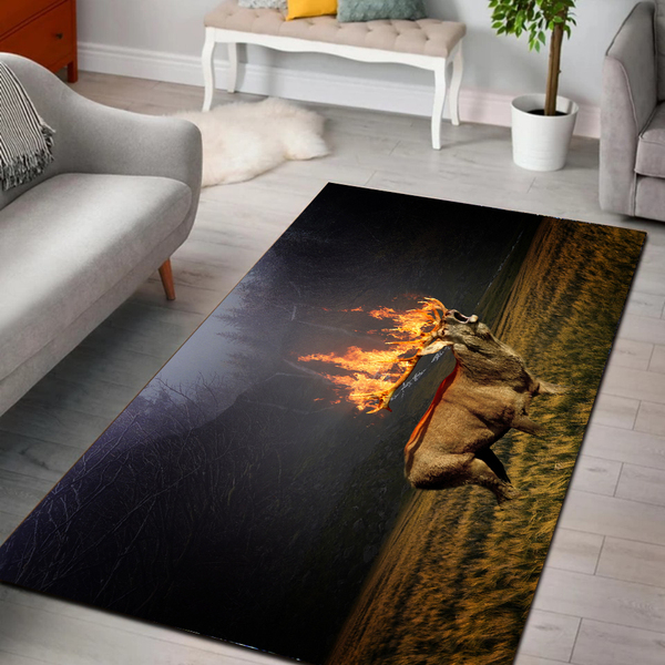 Deer hunting flame all over printed rug 3