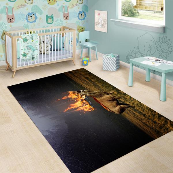 Deer hunting flame all over printed rug 4