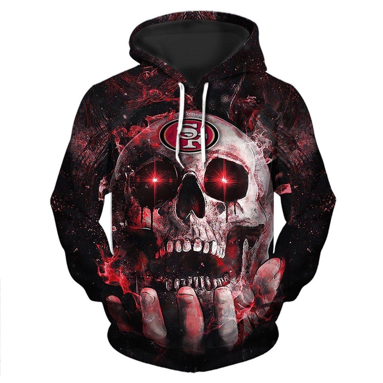 Electro skull san francisco 49ers full printing hoodie 1