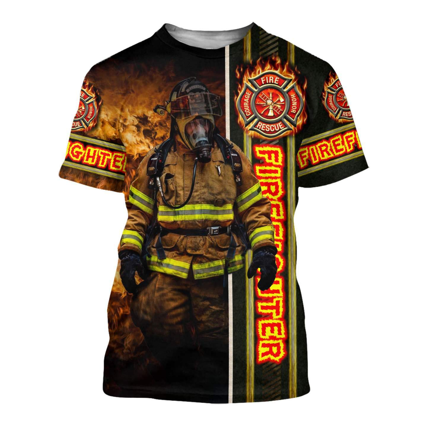 Fire fight 3d all over printed tshirt