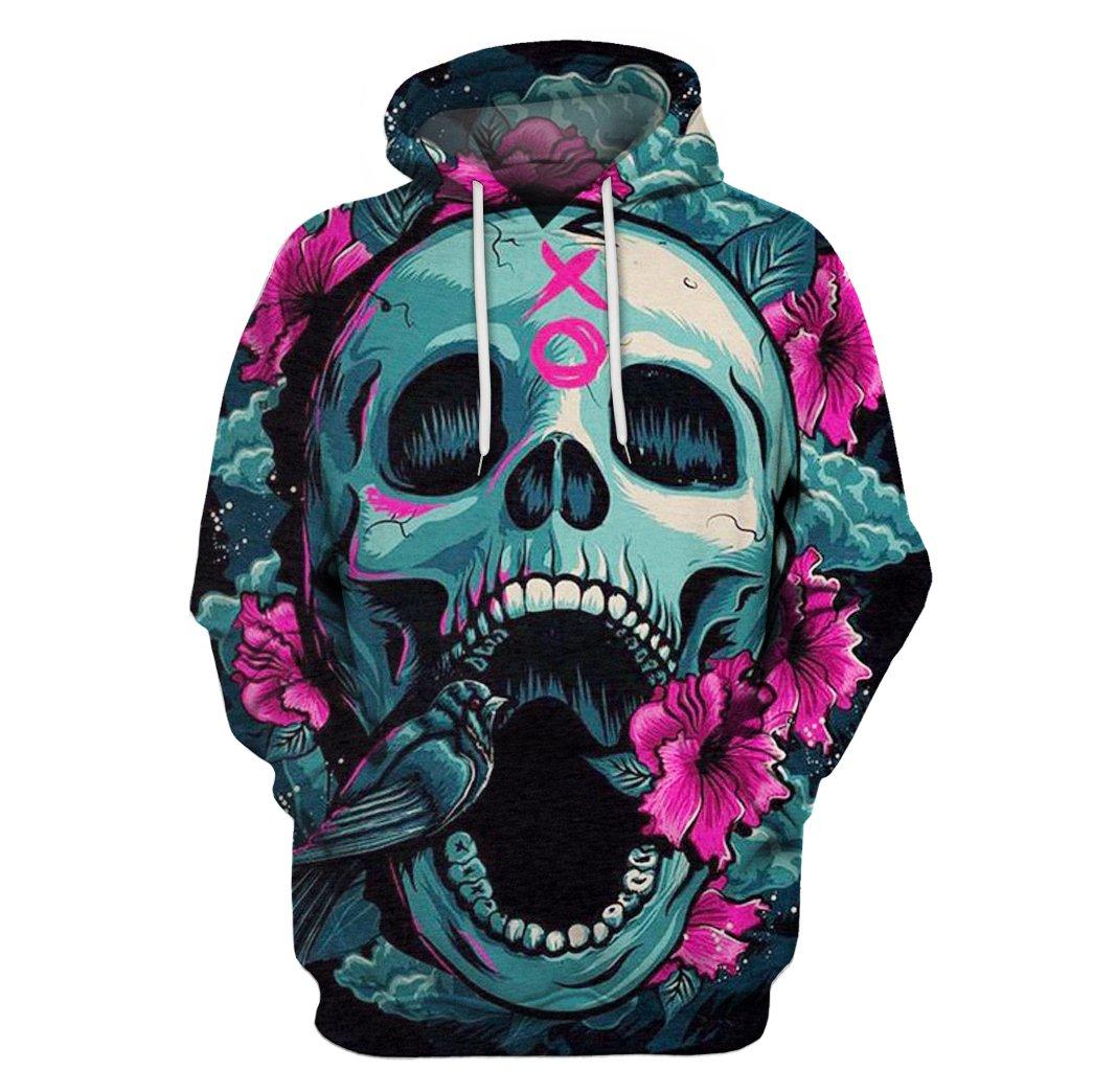 Floral skull full printing hoodie 1