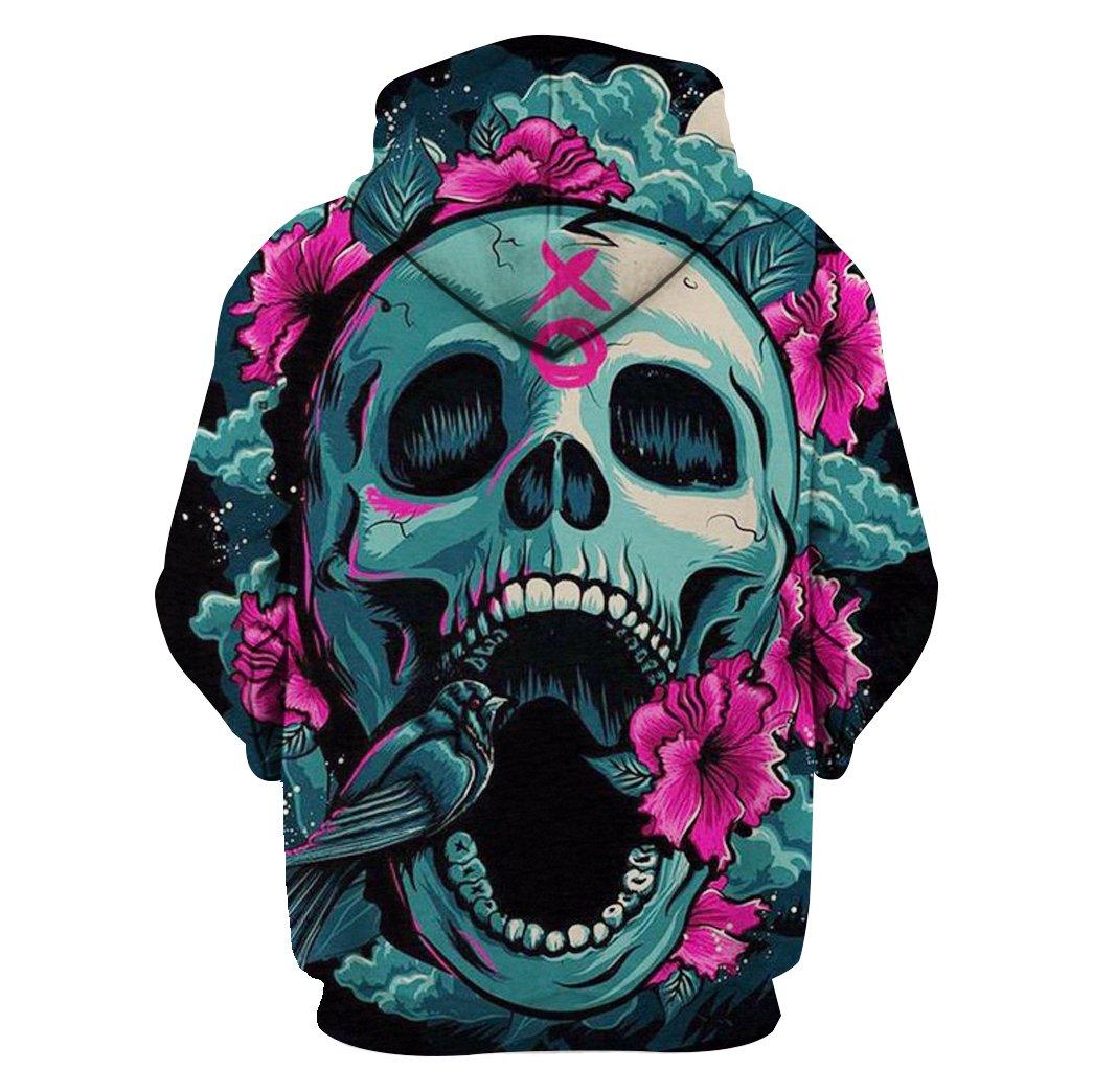 Floral skull full printing hoodie - back 1