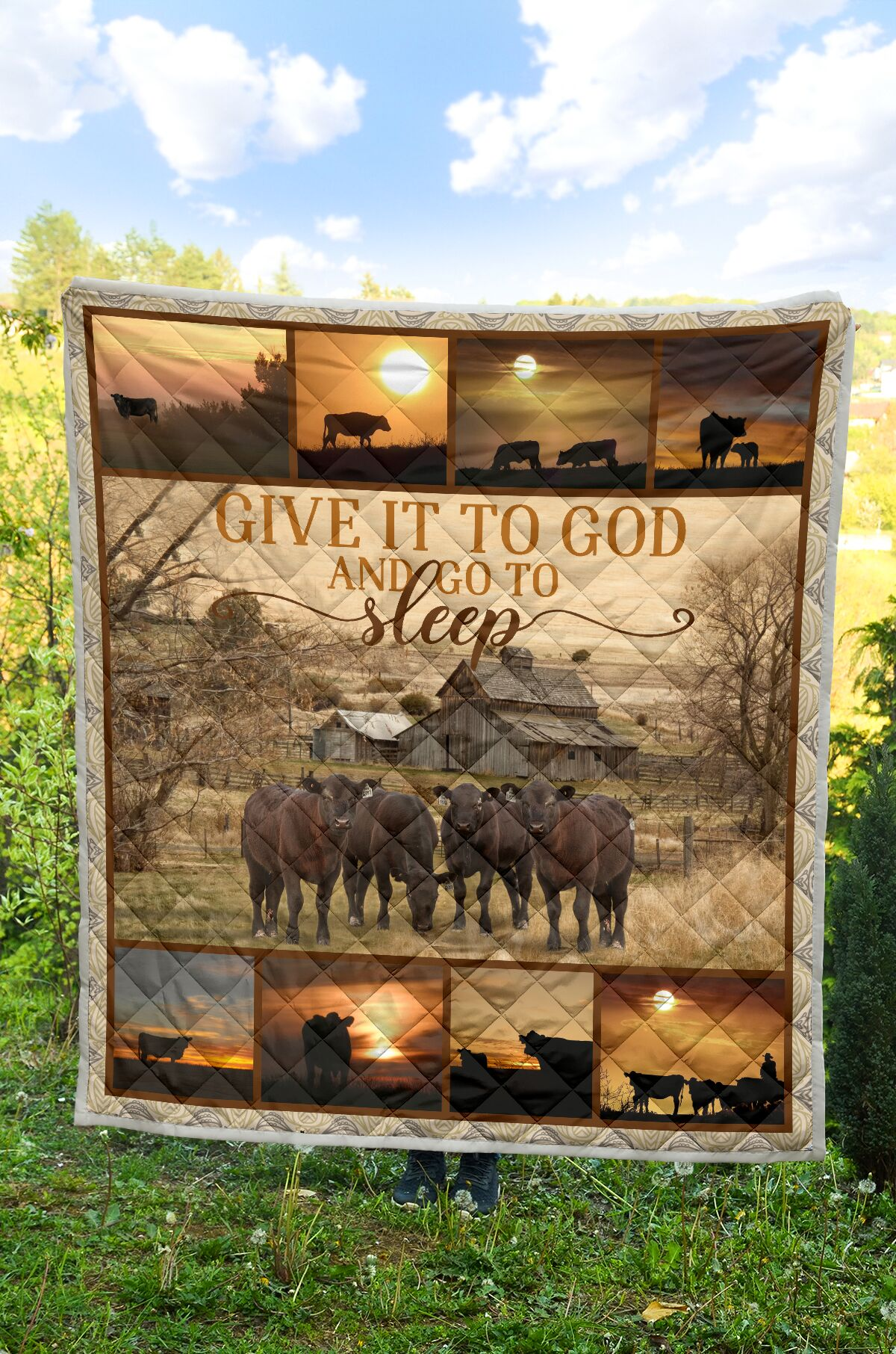 Give it to God and go to sleep farming full printing quilt 1