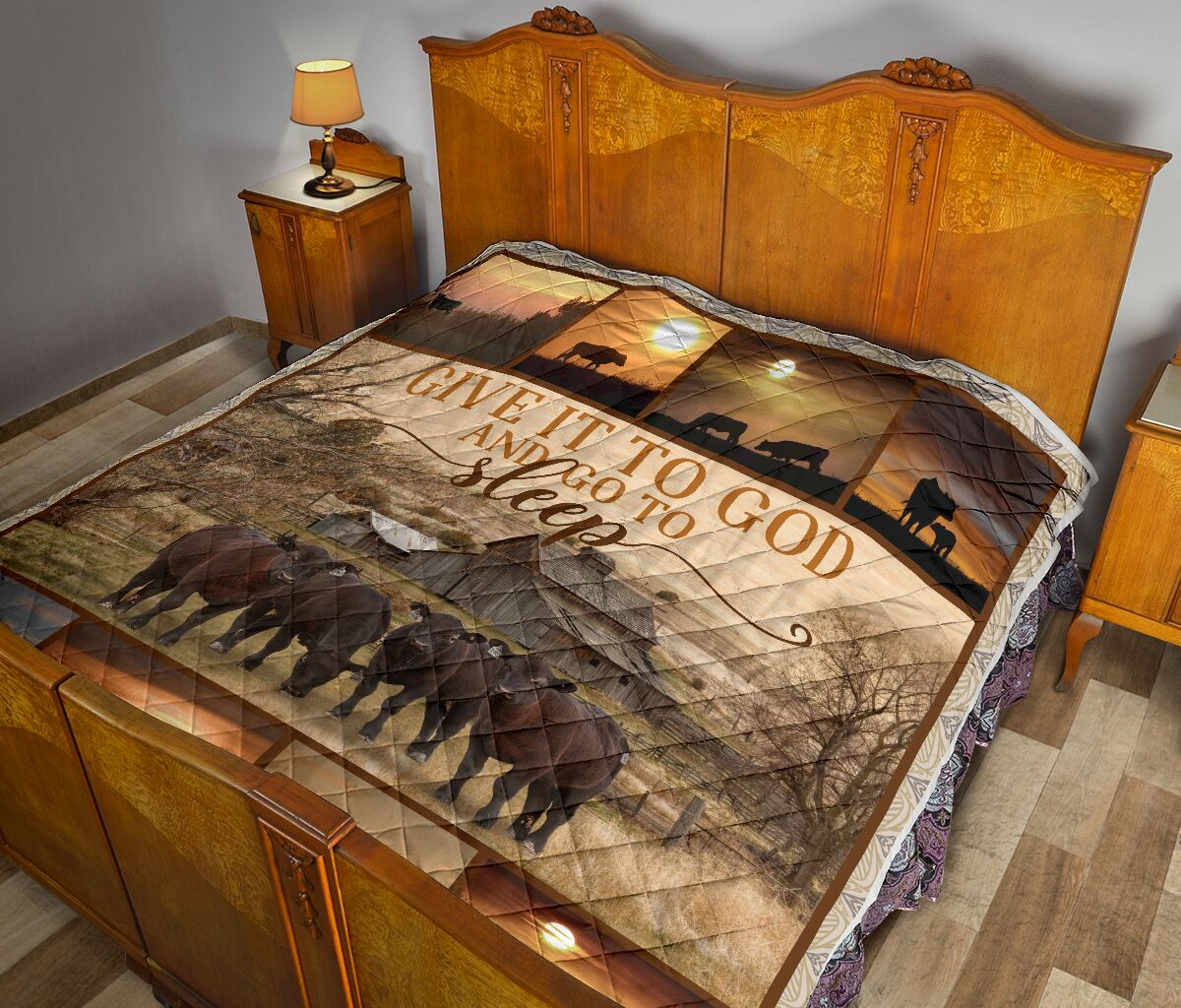 Give it to God and go to sleep farming full printing quilt 3