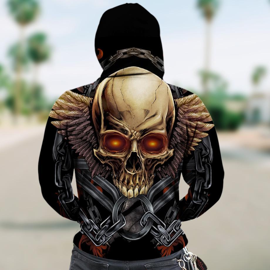 Golden skull full printing hoodie - back 1