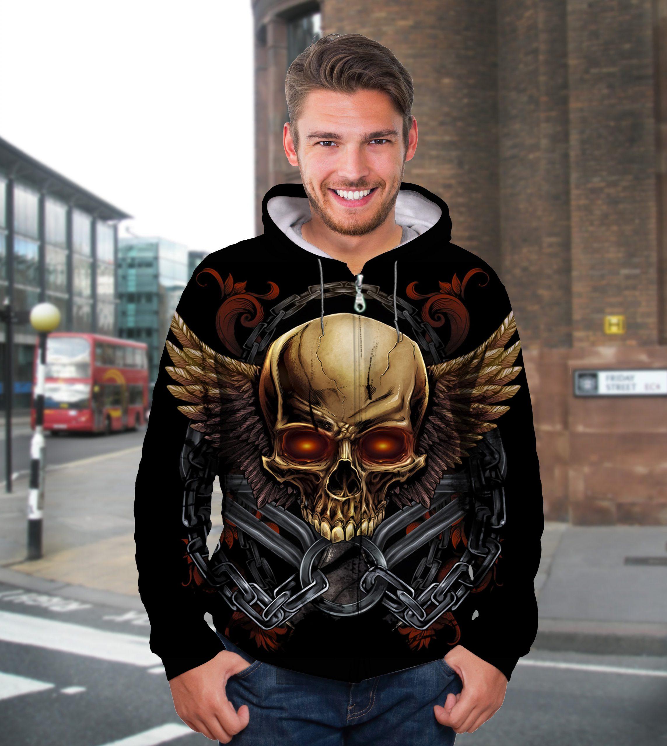 Golden skull full printing hoodie