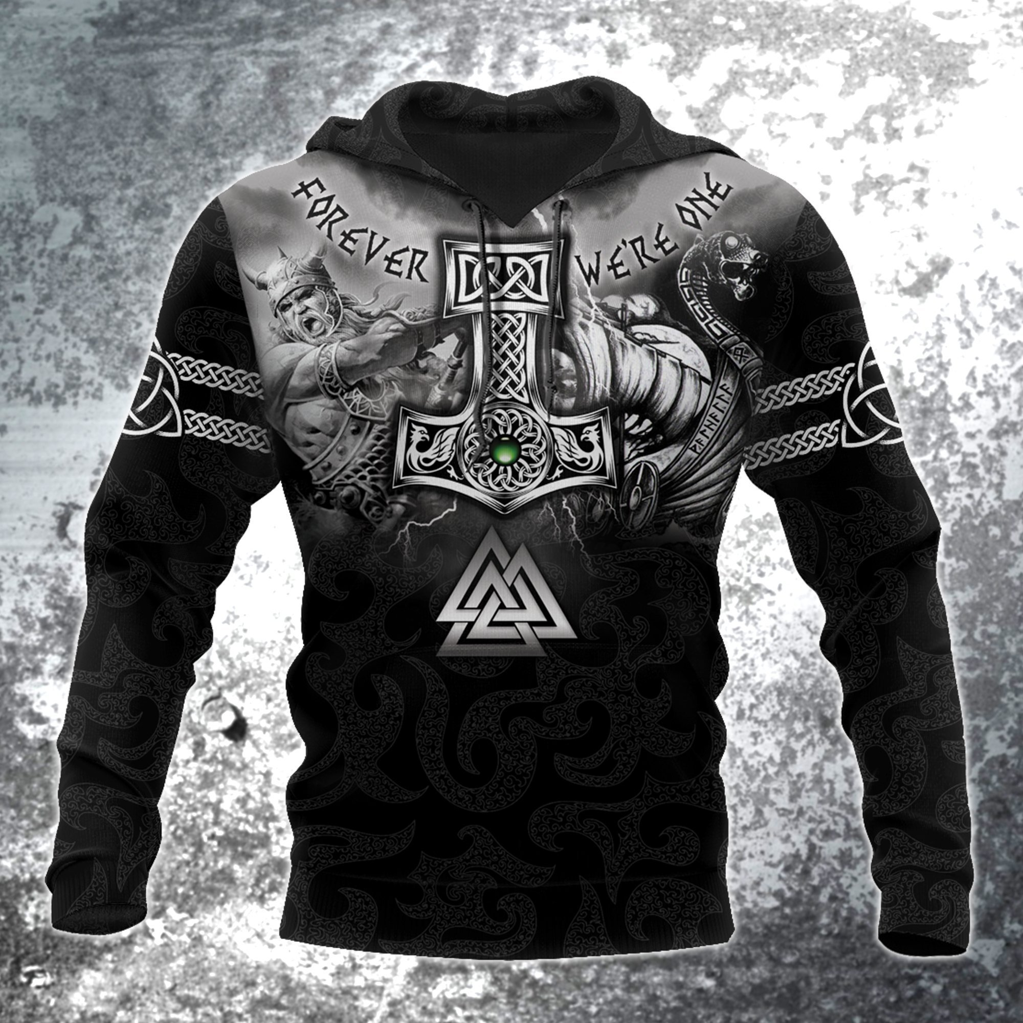 Hammer of thor forever we are one viking full printing hoodie