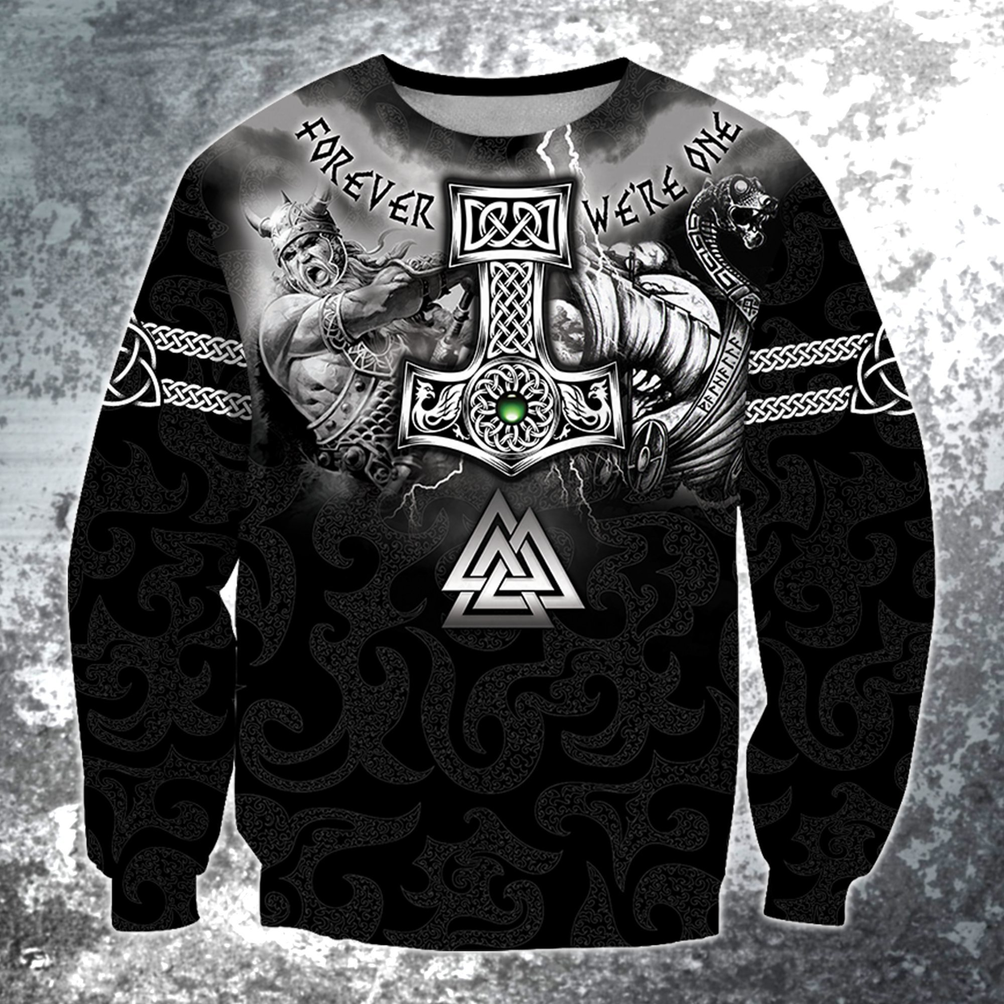 Hammer of thor forever we are one viking full printing sweatshirt 1