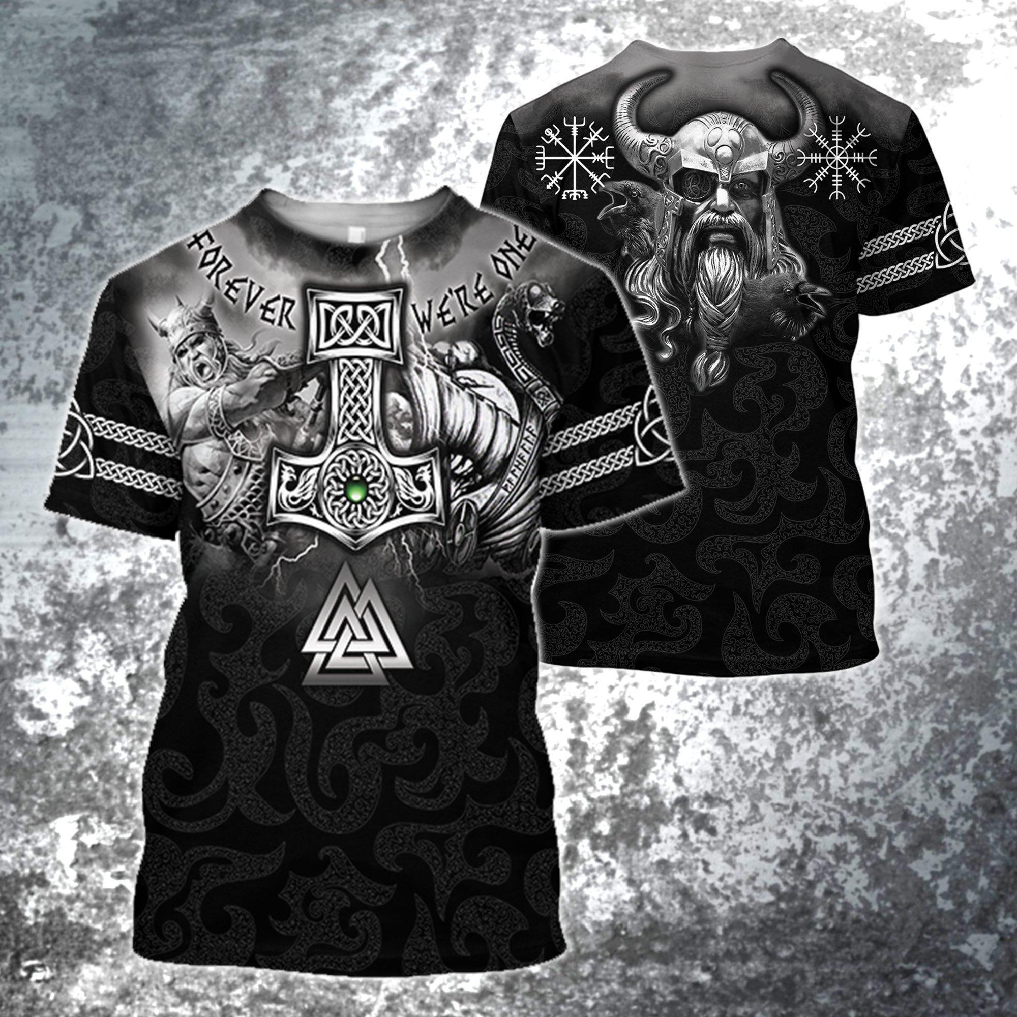 Hammer of thor forever we are one viking full printing tshirt 1