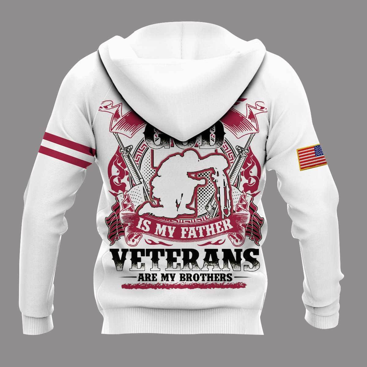 I took a dna test god is my father veterans are my brothers all over print hoodie - back