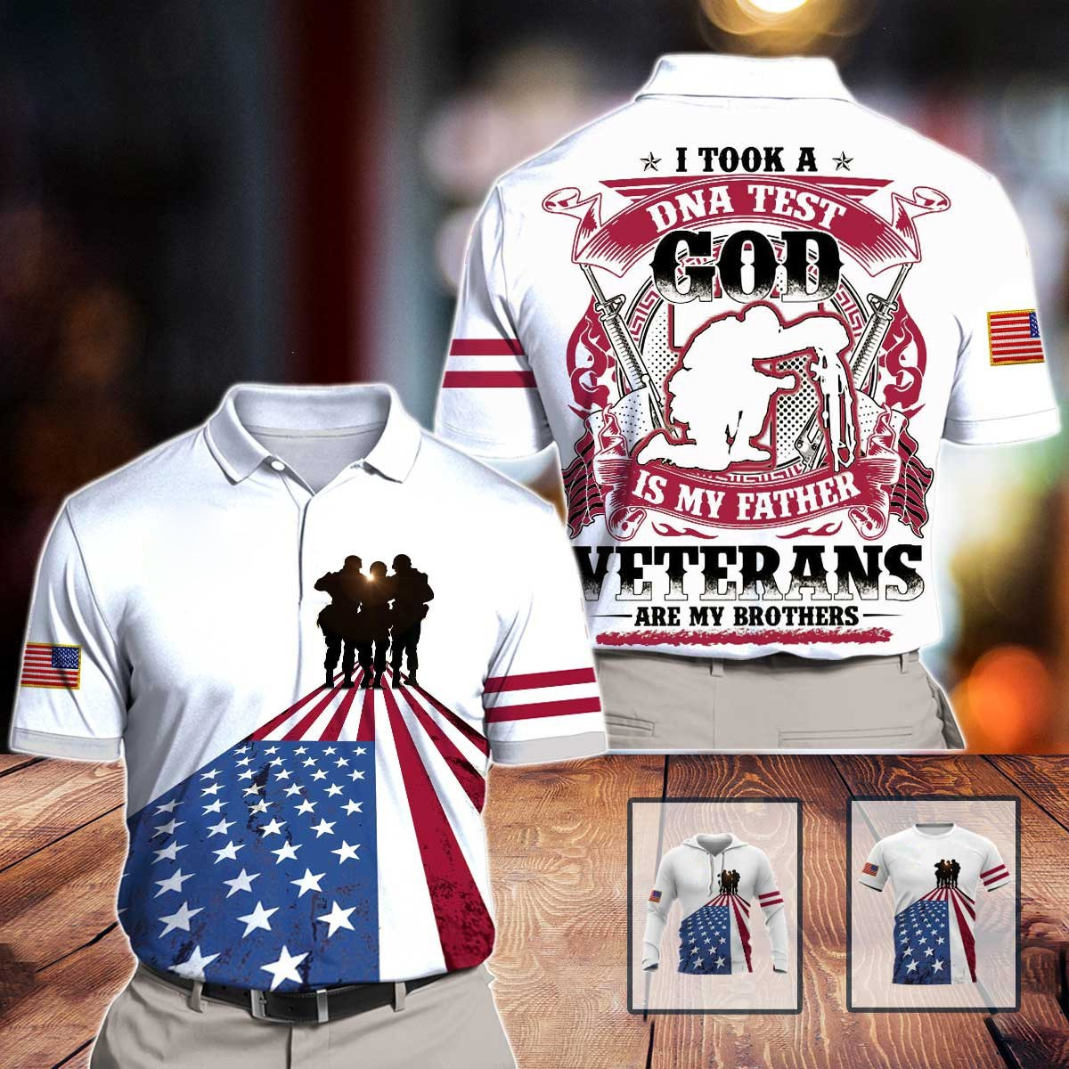 I took a dna test god is my father veterans are my brothers all over print polo shirt