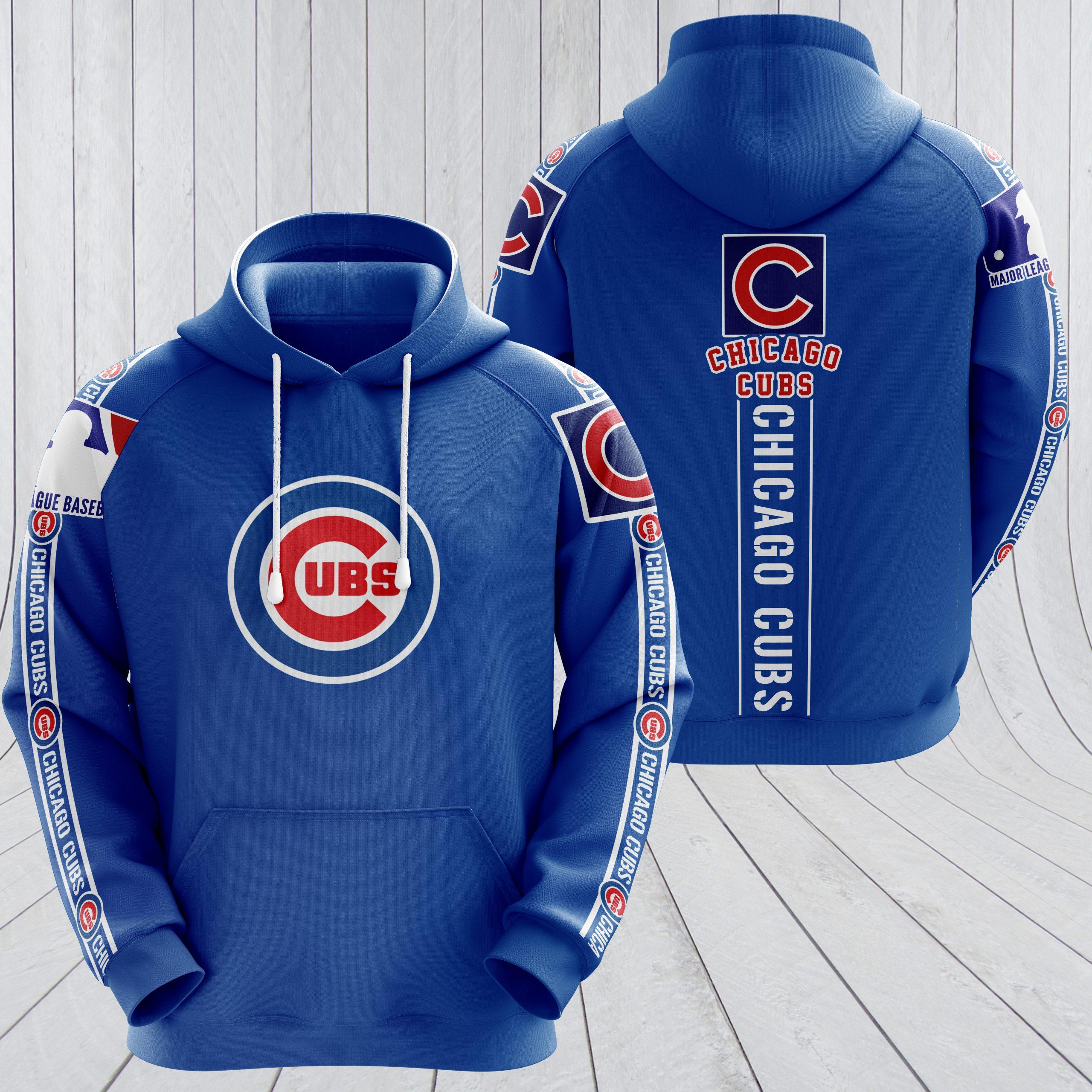 MLB chicago cubs full printing hoodie - royal