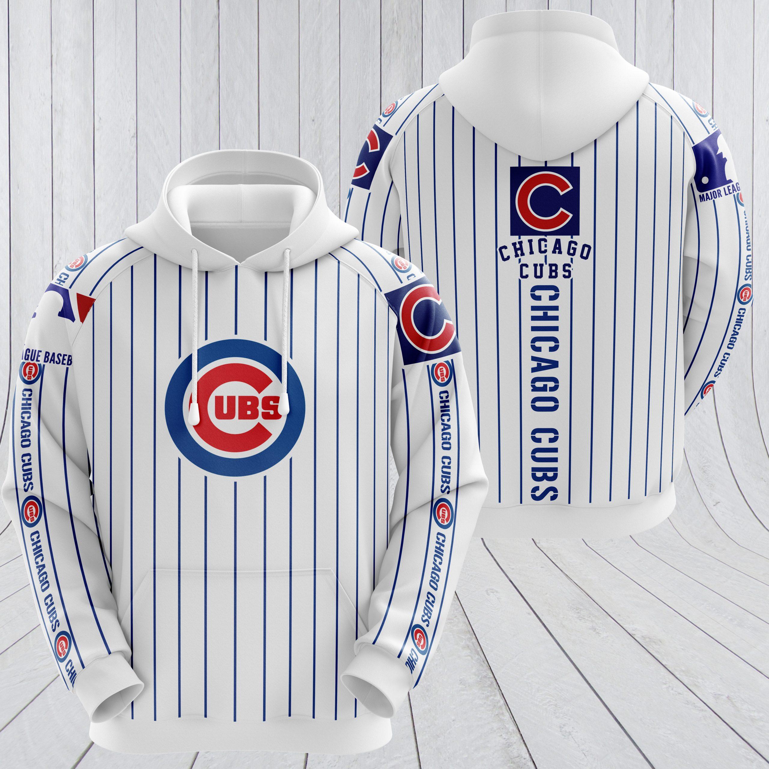 MLB chicago cubs full printing hoodie - white